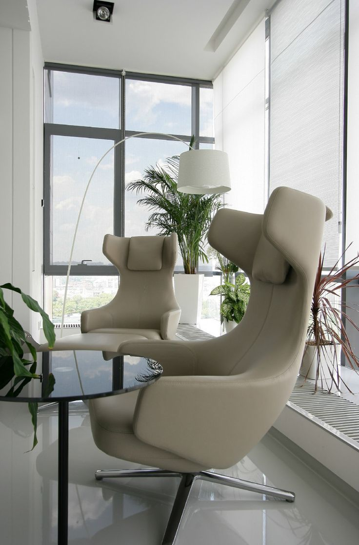 Apartments:Modern Apartment With Sweet Office Interior Design With Charming Floor Lamp Also Modern Office Round Table Modern Office Chairs Near Widows With Skyview For Office Apartment Decor Also Modern Apartment Living Room Ideas Glowing white Interior Design Ideas for Modern Apartment Living Room Ideas