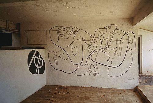 Mural by Corbusier.: Eileen Gray 8217, Le Corbusier, Corbusier Murals, E1027, Lecorbusi, Basements Wall, E 1027 House, Gray Houses, Gray E 1027
