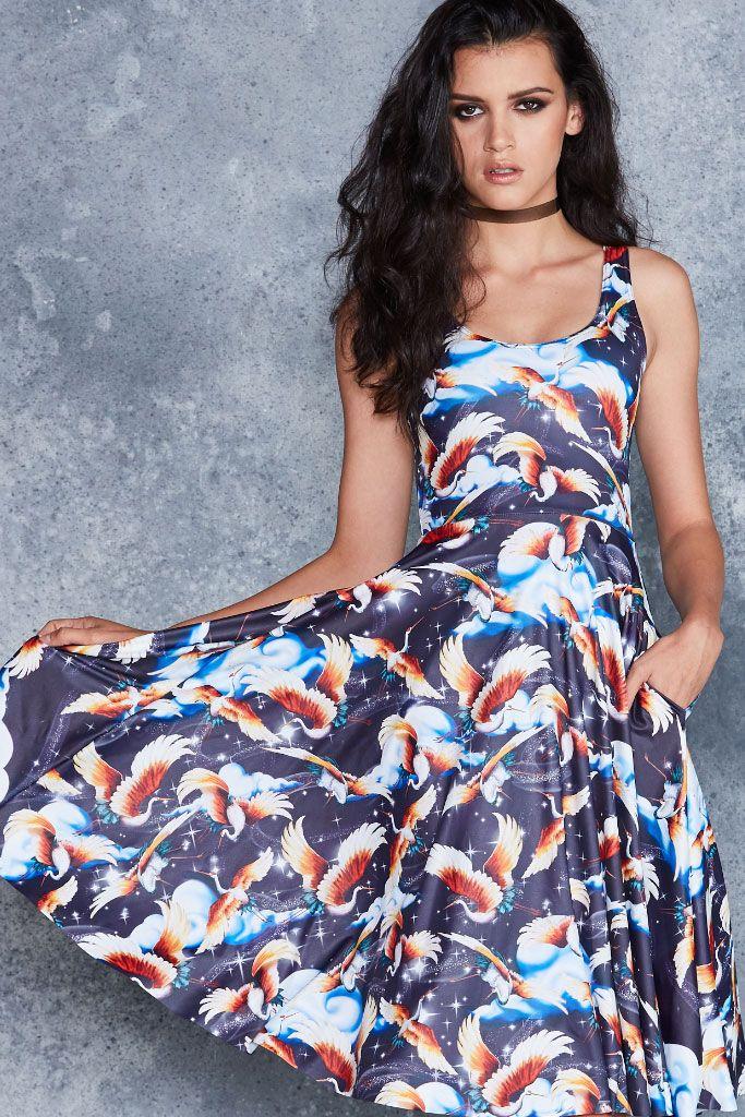 Twilight Cranes Pocket Midi Dress - 48HR ($120AUD) by BlackMilk Clothing
