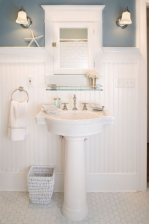 Penny, Pedestal, Wainscotting, Cottage, Traditional, Powder/Half Bath, Wall sconce bathroom