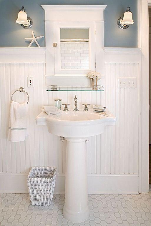 Penny, Pedestal, Wainscotting, Cottage, Traditional, Powder/Half Bath, Wall sconce bathroom