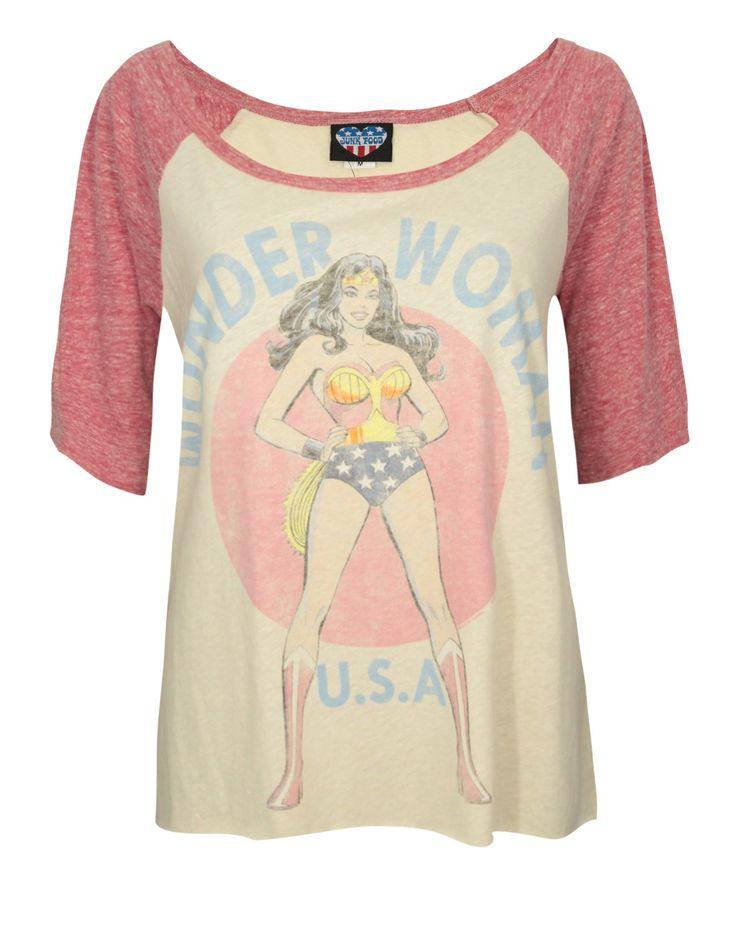 Junk Food Wonder Woman USA Womens Baseball Style T-Shirt Style, New This Week, Superheroes | Vanilla Underground