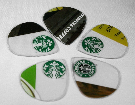 Starbucks Giftcard Guitar Picks Upcycled and Funky Cute