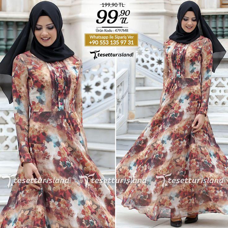 Puane - Desenli Mercan Elbise #tesettur #tesetturabiye #tesetturgiyim #tesetturelbise #tesetturabiyeelbise #kapalıgiyim #kapalıabiyemodelleri #şıktesetturabiyeelbise #kışlıkgiyim #tunik #tesetturtunik