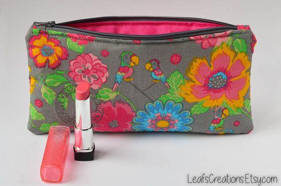 Makeup bag Makeup case Pencil case Zipper pouch School supplies Flowers Pink Grey Yellow Green. LeafsCreations.