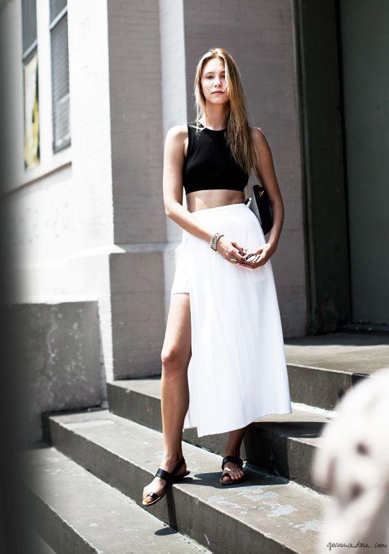 Black crop top, white maxi skirt, sandals / Garance Doré