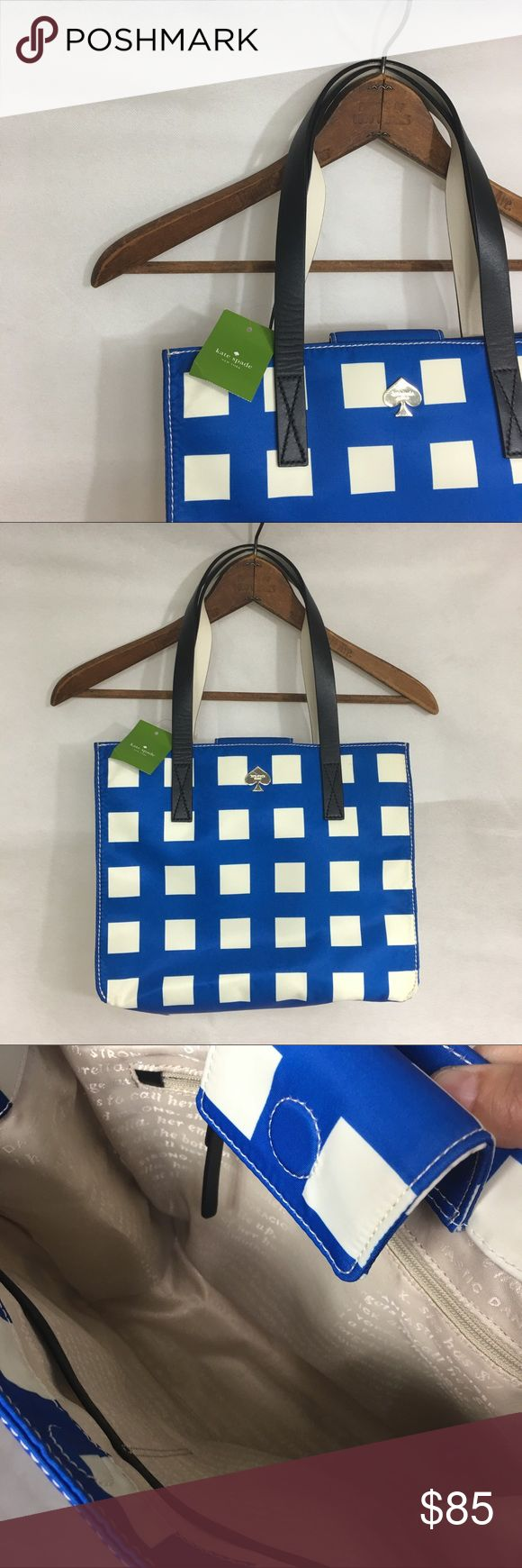 ⬇️🎉LOWEST $ Kate Spade shoulder bag.  Blue white Beautiful new Kate Spade  ♠️ shoulder bag tote in pretty blue and white checkered pattern. kate spade Bags Shoulder Bags