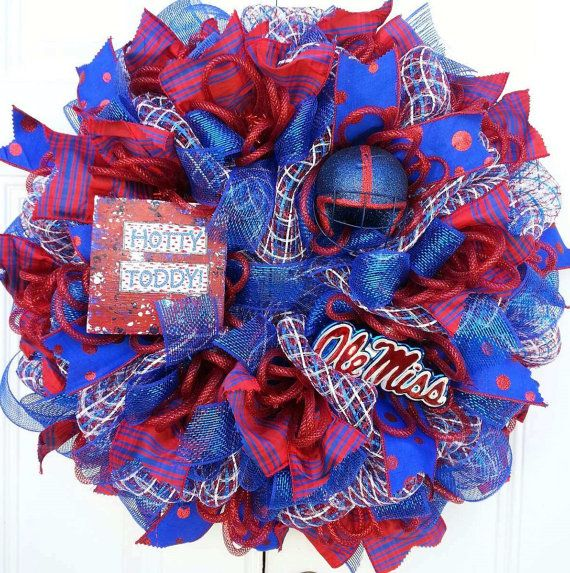 Ole Miss WreathSports Themed Wreath Game Day by StudioWhimsybyBabs