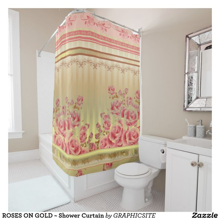 ROSES ON GOLD ~ Shower Curtain