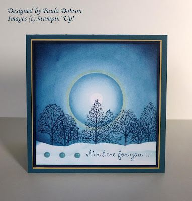 card with sponging...moon halo...tree silhouettes...Stampin' Up!...beautiful...