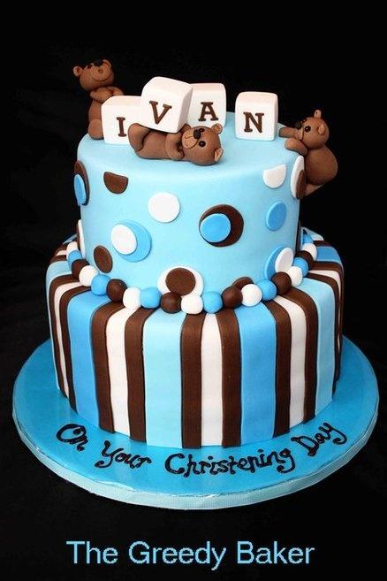 Blue & brown Christening Cake