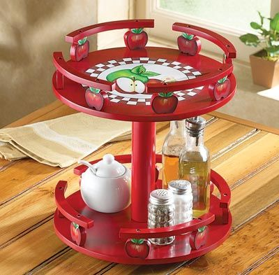 Apple decor tiered lazy susan for Apple decoration kitchen