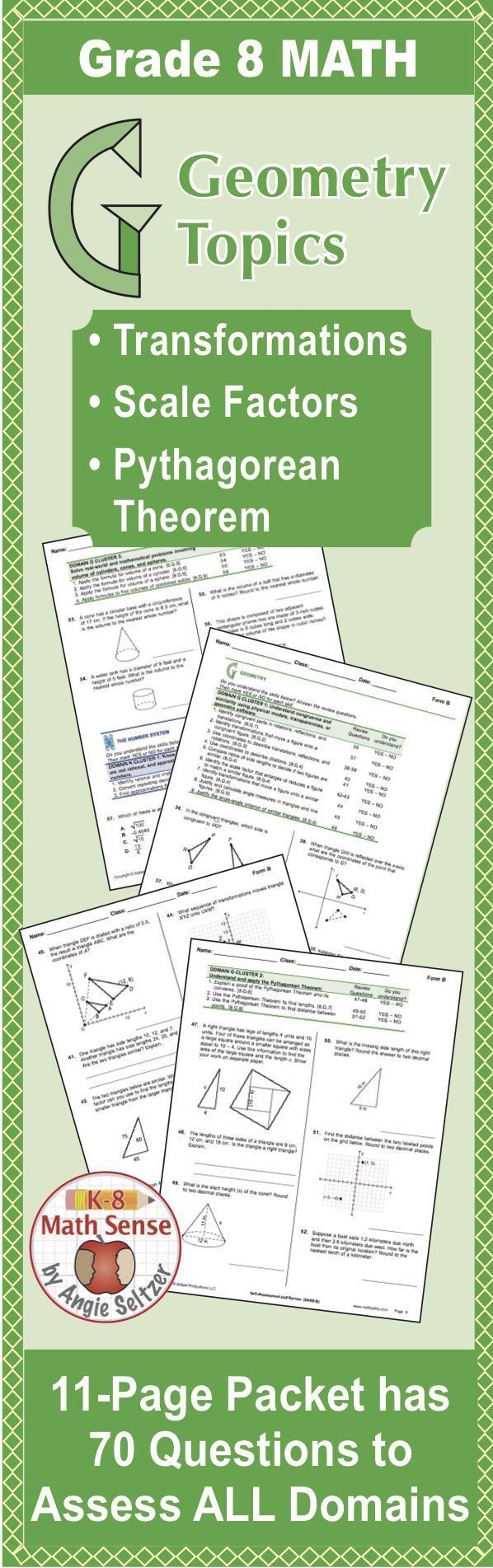 Grade 8 CCSS Math SelfAssessment and Review Packet Form