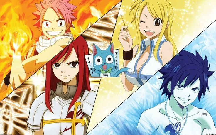 Fairy Tail ' Natsu ,, Lucy ,, Gray ,, Erza ee Happy ...