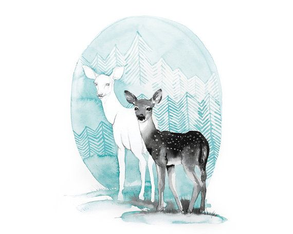 Printable nursery art illustration/ deer/ by WatercolorsByOli
