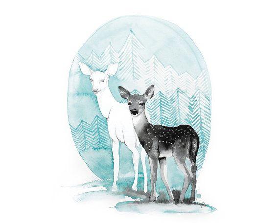 Printable nursery art illustration/ deer/ by WatercolorsByOli