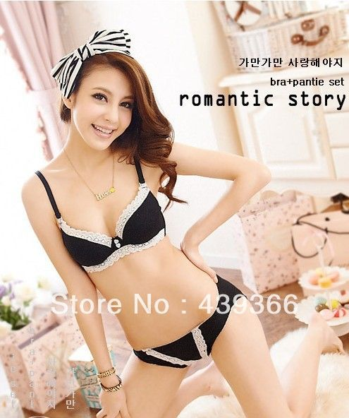 College girl bra sets bra & panties simple fashion style black ...