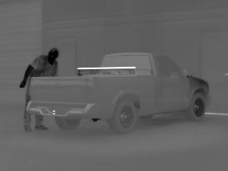 Raptor-X FLIR image of recently driven automobile.