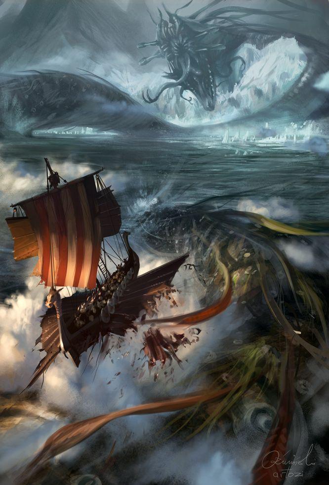 Níðhöggr attacking Norse Columbus? by ~artozi on deviantART  more likely to be jorungmandr