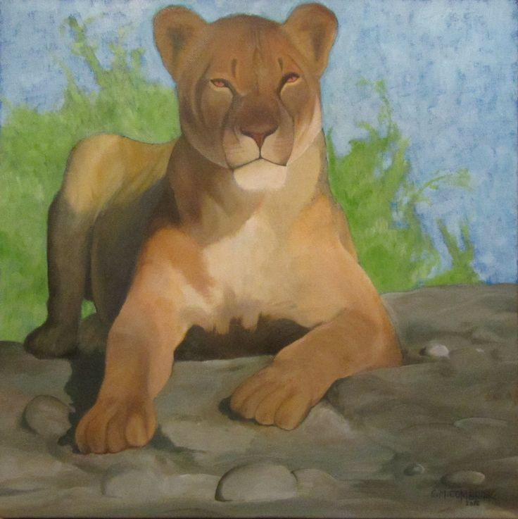 Lion Oil Painting - Christiaan Combrink 2012