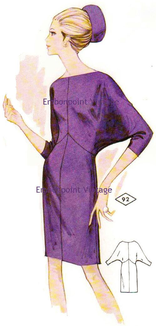Pattern 92 Bonita: A 1969 womans dress with a high straight neckline, with decorative seams, dolman sleeves and a straight hemline. Described