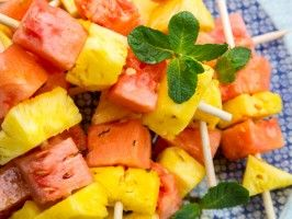 Chilled Pineapple and Watermelon Skewers with Mint Syrup from CookingChannelTV.com