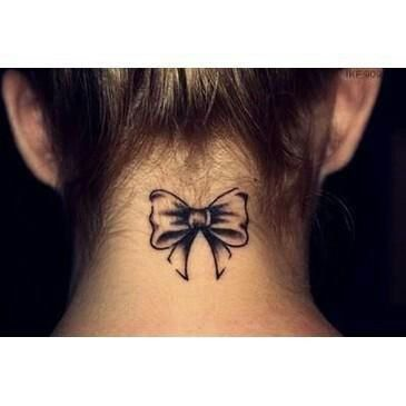 Bow tattoo on back of neck cute tattoo obsession for Cute bow tattoos