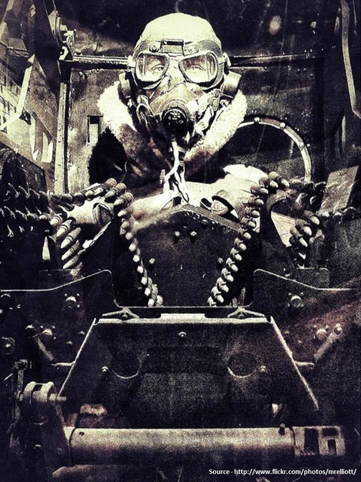 Turret gunner of a RAF LANCASTER bomber during WWII.
