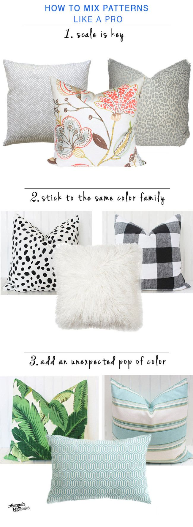 Use color and pattern in your home with confidence by following these 3 pro tips. It is possible to mix prints and patterns without looking overwhelming. http://www.amandakatherine.com/how-to-mix-patterns-like-a-pro/