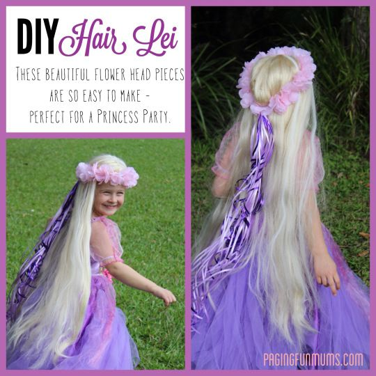 DIY Hair Lei - Perfect princess party craft or just a cheap and easy dress-up prop.