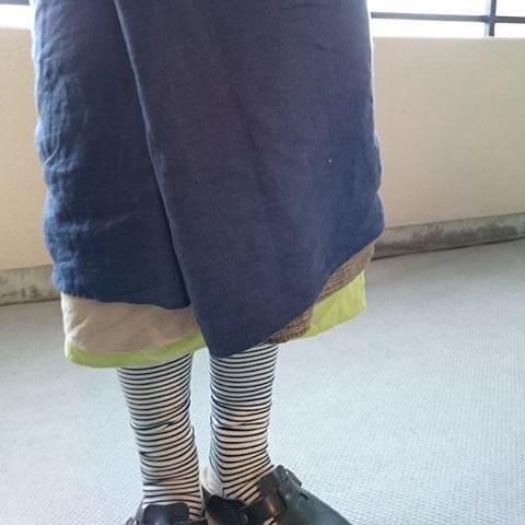 単サロン リネン+単サロン ブッチャー織+ゴムズボン萌黄。 #百草サロン