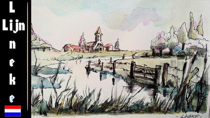 Hoe teken je een Polder Landschap met aquarel potloden -les 3