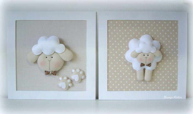 Duo quadros em madeira pintados e forrados em tecido, com aplicação de feltro/tecido no tema desejado!