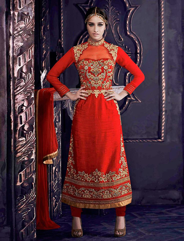 Sharddha Kapoor-Heavy Designer Embroidered Straight Salwar Suit
