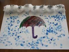 April Showers: These are thumb print rain drops and cotton ball clouds. Find April crafts for your preschool at www.startingapreschool.net
