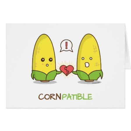 Cute Punny Compatible Corn Couple Gift Card - tap, personalize, buy right now! #illustrations #illustration #gift #gifts #giftideas #giftforher #humor #funny #lol #pun