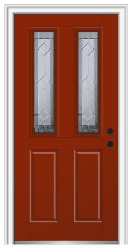 Shown is a Majestic Elegance 2-1/2 Lite 2-Panel Entry Door Painted Redwood. Visit DoorBuy.com to configure your dream door today!