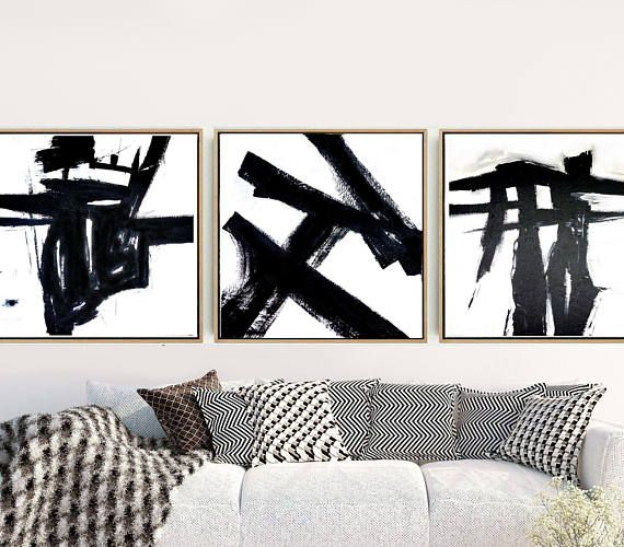 Triptych black and white abstract abstract art prints set of 3 prints