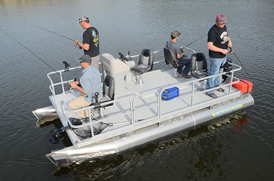 """Grab your buddies and head out to the your favorite crappie hole! At 16' 6"""", the re-designed Pond King Elite is our largest model of mini pontoon boats and is decked out with everything needed for big lake fishing."""