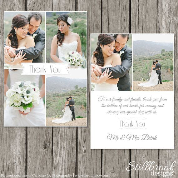 Wedding Thank You Card Template by StillbrookDesigns, $15.00