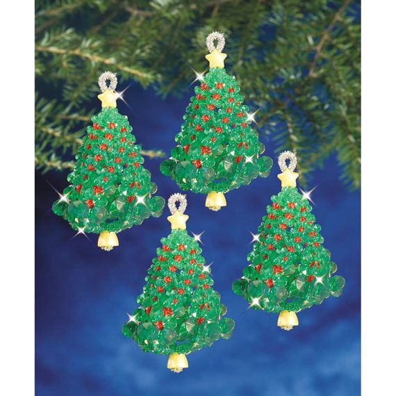 Emerald Tree Twists Ornament Kit DIY Beaded Ornaments Christmas Tree Ornaments Holiday Bead Kit Make Your Own Ornaments