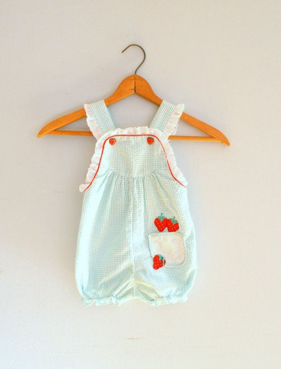 Vintage STRAWBERRY MINT Baby Rompersize 6 to 9 by retroandme, $16.00