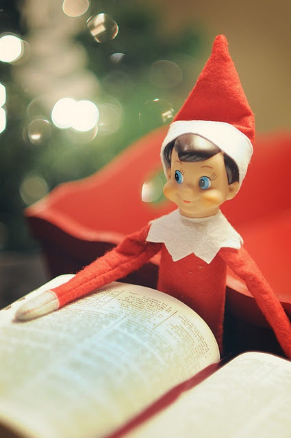 Elf on the shelf reading the Bible. So cute!!