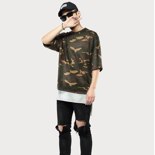 Kpop de gran tamaño T Shirt hombres moda camisas ropa Camo camuflaje camisas Streetwear inconformista O-Neck Tee 10