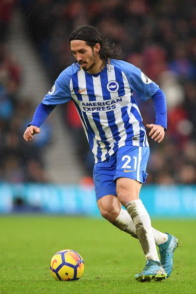 Matias Ezequiel Schelotto of Brighton & Hove Albion in action during the Premier League match between Brighton and Hove Albion and AFC Bournemouth at Amex Stadium on January 1, 2018 in Brighton, England.