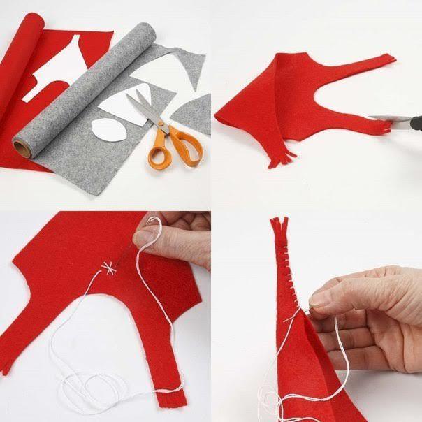 Cómo hacer duendes de navidad en tela con moldes paso a paso
