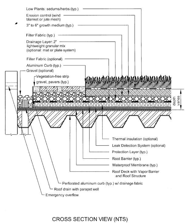 Helpful info here. Green Roof - cross section. Vegetated Roof