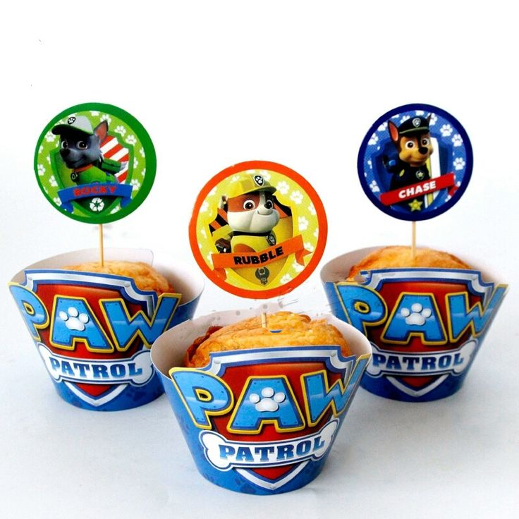 Paw Patrol cupcake wikkels met topper