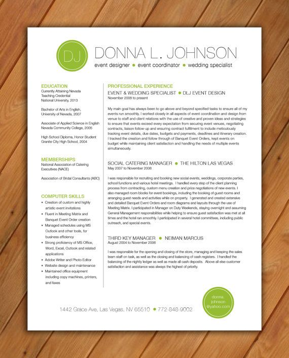 17 best images about Misc design on Pinterest Resume templates - wedding manager sample resume