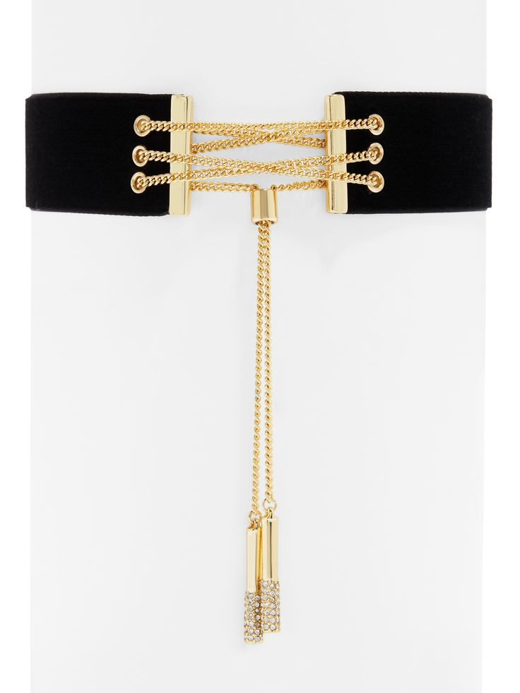 Shay Mitchell Guest Bartender Collection. Bright gold chain work and a plush velvet ribbon make a dramatic, must-have statement piece.